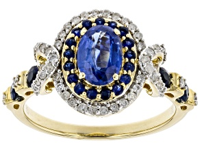 Pre-Owned Blue Kyanite, Blue Sapphire And White Diamond 14k Yellow Gold Halo Ring 1.54ctw