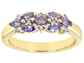 Pre-Owned Blue Tanzanite 18k Yellow Gold Over Sterling Silver Ring 0.60ctw