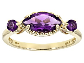 Pre-Owned Purple Amethyst 10k Yellow Gold 3-Stone Ring .96ctw