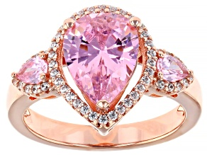 Pre-Owned Pink And White Cubic Zirconia 18k Rose Gold Over Sterling Silver Ring 4.44ctw
