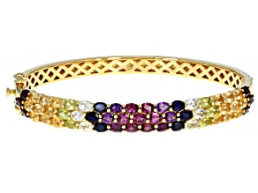 Pre-Owned Multi-Color Gemstone 18k Yellow Gold Over Silver Bracelet 9.47ctw