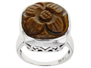 Pre-Owned Tigers Eye Rhodium Over Sterling Silver Craved Flower Ring