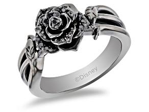 Pre-Owned Enchanted Disney Villains Maleficent Rose Ring Black Diamond Black Rhodium Over Silver 0.2