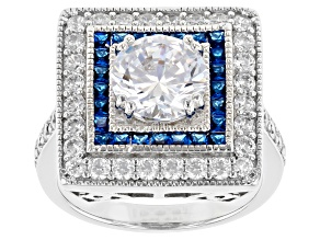 Pre-Owned Lab Created Blue Spinel and White Cubic Zirconia Rhodium Over Silver Ring 5.38ctw