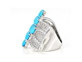 Pre-Owned Blue Turquoise Rhodium Over Sterling Silver Ring 2.05ctw