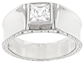 Pre-Owned White Cubic Zirconia Rhodium Over Sterling Silver Ring 1.21ctw