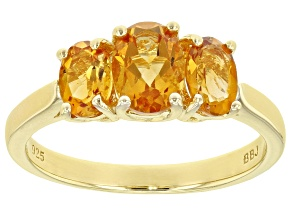 Pre-Owned Orange citrine 18k yellow gold over silver 3-stone ring 1.28ctw
