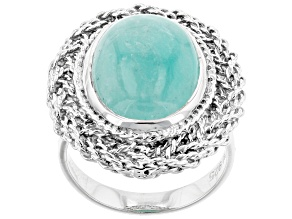 Pre-Owned Green amazonite rhodium over sterling silver solitaire ring.