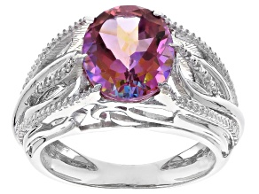 Pre-Owned Pink Manor Rose, Mystic Topaz® Sterling Silver Ring 4.04ctw