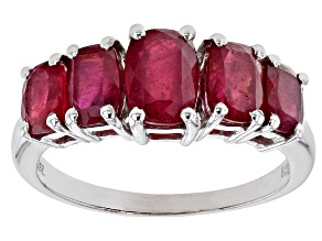 Pre-Owned Red Mahaleo® ruby rhodium over sterling silver ring 3.39ctw