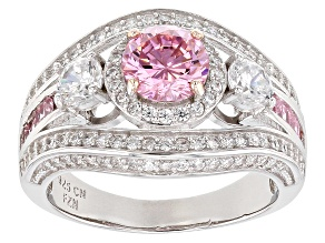 Pre-Owned Pink & White Cubic Zirconia Rhodium Over Sterling Silver Center Design Ring 4.17ctw