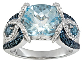 Pre-Owned Sky Blue Topaz And Blue Diamond Sterling Silver Ring 4.36ctw