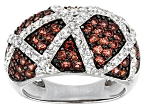 Pre-Owned Red Garnet Rhodium Over Silver Band Ring 2.38ctw