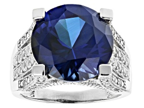 Pre-Owned Blue Lab Created Sapphire Rhodium Over Silver Ring  11.48ctw