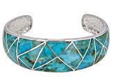 Pre-Owned Inlaid Turquoise Rhodium Over Sterling Silver Cuff Bracelet