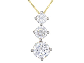 Pre-Owned White Cubic Zirconia 10K Yellow Gold Pendant With Chain 5.50ctw