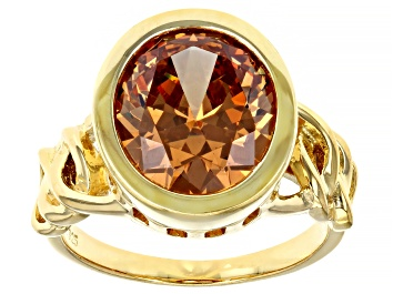 Picture of Pre-Owned Brown Cubic Zirconia 18k Yellow Gold Over Sterling Silver Ring 8.45ctw