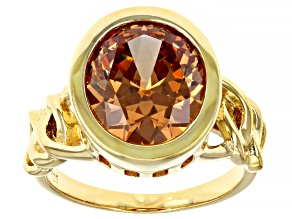 Pre-Owned Brown Cubic Zirconia 18k Yellow Gold Over Sterling Silver Ring 8.45ctw
