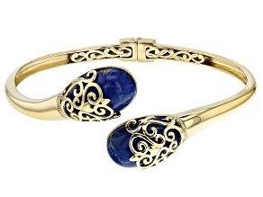 Pre-Owned Blue Lapis Lazuli 18K Yellow Gold Over Sterling Silver Bracelet
