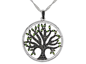Pre-Owned Black Spinel Rhodium Over Sterling Silver Tree Of Life Pendant With Chain .64ctw