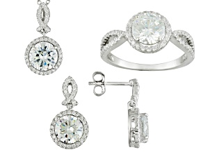 Pre-Owned Cubic Zirconia Rhodium Over Sterling Silver Earrings, Ring And Pendant With Chain Set 11.4