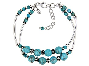 Pre-Owned Turquoise Rhodium Over Sterling Silver Double Strand Bead Bracelet