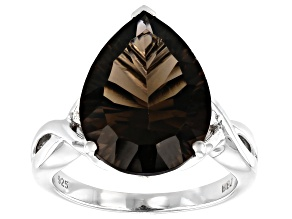 Pre-Owned Brown smoky quartz rhodium over silver ring 6.16ctw