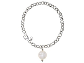 Pre-Owned Genusis™ 11-12mm White Cultured Freshwater Pearl Rhodium Over Sterling Silver Bracelet