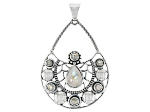 Pre-Owned Rainbow Moonstone Sterling Silver Pendant