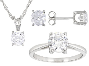 Pre-Owned White Diamond Simulant Platinum Over Sterling Ring, Earrings, and Pendant With Chain Set 9