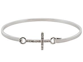 Pre-Owned White Diamond Rhodium Over Brass Bracelet 0.10ctw