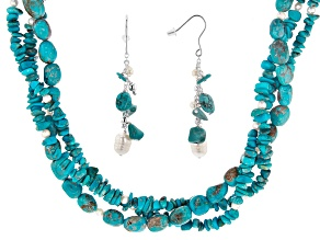 Pre-Owned Blue Turquoise Silver Necklace & Earrings Set
