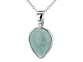 Pre-Owned Jadeite Solitaire Rhodium Over Silver Enhancer With Chain