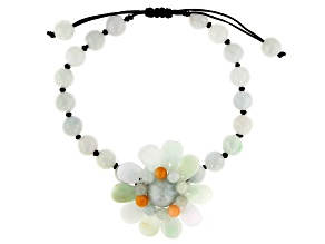 Pre-Owned Jadeite Adjustable Flower Bracelet