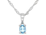 Pre-Owned Swiss Blue Topaz Rhodium Over Sterling Silver Children's Pendant with Chain .18ct
