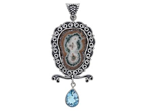 Pre-Owned Artisan Collection Of India™ Agate Stalactite With Blue Topaz Sterling Silver Pendant