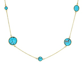 Pre-Owned Kingman Turquoise 18k Yellow Gold Over Silver Necklace