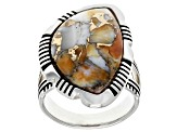 Pre-Owned Spiny Oyster Shell Rhodium Over Silver Solitaire Ring
