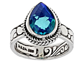 Pre-Owned Paraiba Blue Color Rainbow Quartz Triplet Sterling Silver Ring