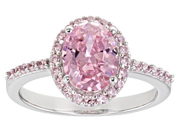 Picture of Pre-Owned Pink Cubic Zirconia Rhodium Over Sterling Silver Ring 3.59ctw