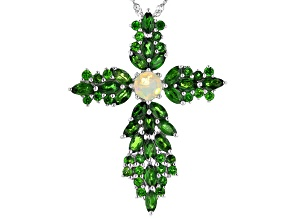 Pre-Owned Multi Color Opal Rhodium Over Sterling Silver Cross Pendant With Chain 4.48ctw