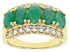 Pre-Owned Green Emerald 18k Yellow Gold Over Sterling Silver 2.20ctw