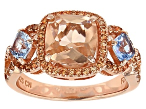 Pre-Owned Morganite Simulant, Lab Created Blue Spinel And Brown Cubic Zirconia 18k Rg Over Silver Ri