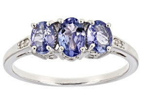 Pre-Owned Blue Tanzanite Rhodium Over Sterling Silver Ring .96ctw