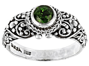 Pre-Owned Green Russian Chrome Diopside Silver Ring 0.48ctw