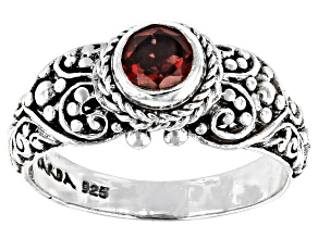 Pre-Owned Red Garnet Silver Ring 0.55ct
