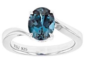 Pre-Owned Blue Lab Created Alexandrite Rhodium Over Silver Ring 1.82ct