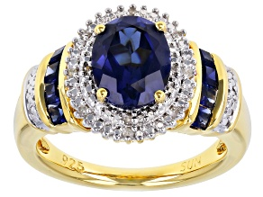 Pre-Owned Blue Lab Created Sapphire 14k Yellow Gold Over Sterling Silver Ring 2.43ctw