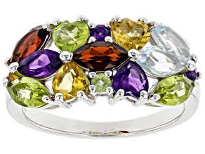 Pre-Owned Multi-Gemstone Rhodium Over Sterling Silver Ring 2.60ctw