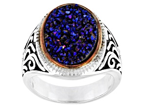 Pre-Owned Multicolor Drusy Quartz Rhodium Over Silver Two-Tone Ring